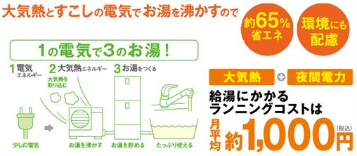 給湯にかかるランニングコストは月平均約1,000円(税込)