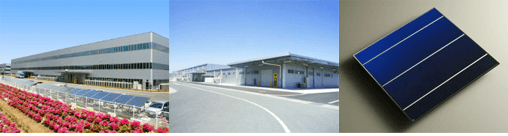 本社工場 太陽電池セル生産工場 長州産業製の太陽電池セル
