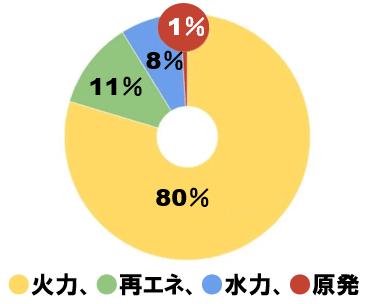 電力発電の比率
