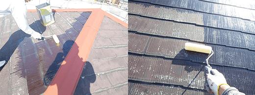 屋根塗装前のサビ止め塗装
