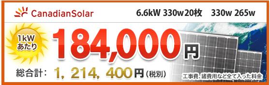 太陽光発電 カナディアンソーラープラチナム330w265wが激安価格